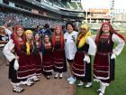 Neolea Hellenic Dancers with Pro Golfer Nancy Lopez - Chicago White Sox Greek Heritage Night