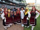 Neolea Hellenic Dancers with Pro Golfer Nancy Lopez - Chicago White Sox Greek Heritage Night