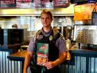 Police officer enjoying lunch at Billy Boy's Restaurant in Chicago Ridge