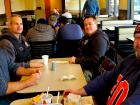 Police officers enjoying lunch at Franksville Restaurant in Chicago