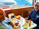 Police officers enjoying lunch at Nick's Drive In Restaurant Chicago