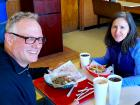 Happy customers enjoying lunch at Nick's Drive In Restaurant Chicago