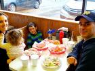 Family enjoying lunch at Nick's Drive In Restaurant Chicago