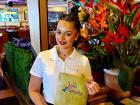 Friendly server at Papagalino Cafe & Pastry Shop in Niles