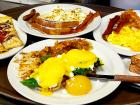 Assorted breakfast dishes at Tasty Waffle Restaurant in Romeoville