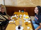 Mom and daughter enjoying lunch at Tasty Waffle Restaurant in Romeoville