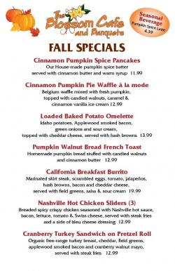 Fall Food Specials at Blossom Cafe in Norridge