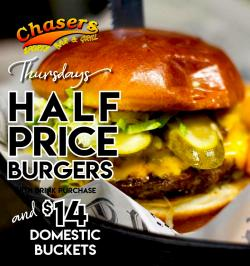 Chaser's Sport's Bar and Grill half-price burgers