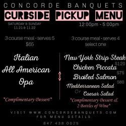 Weekend Curbside Pickup Menu at Concorde Banquets - Kildeer