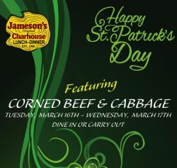 St. Patrick's Day Specials at Jameson's Charhouse - Arlington Heights