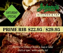 Saturday Prime Rib & other food specials at Johnny's Kitchen & Tap - Glenview