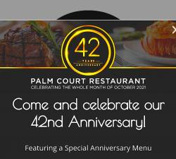 Celebrating 42 Years All October at Palm Court - Arlington Heights