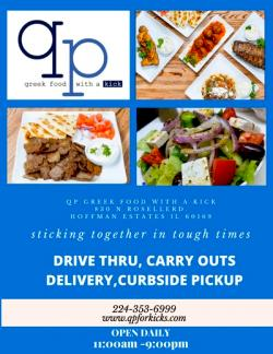 Carryout, Delivery & Drive-Thru at QP Greek Food With A Kick - Hoffman Estates