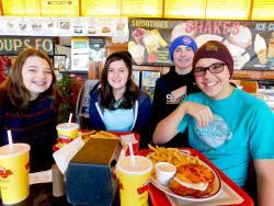 Friends enjoying lunch at Brandy's Gyros Chicago - on Harlem ave.