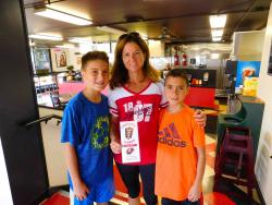 Mom and sons enjoying lunch at Craving Gyros in Lake Zurich