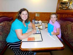 Mom and daughter enjoying lunch at George's Family Restaurant in Oak Park