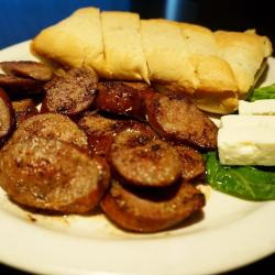 The famous Greek sausage at Jimmy D's District Restaurant in Arlington Heights