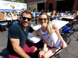 Couple enjoying the Lincoln Park Greek Fest at St. George in Chicago