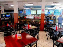 The spacious dining area at Mr. Greek Gyros in Chicago