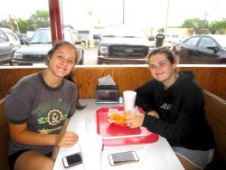 Sisters enjoying lunch at Nick's Drive In Restaurant in Chicago