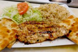 Charbroiled chicken breast on pita at Nikko's Grecian Grill in Mundelein