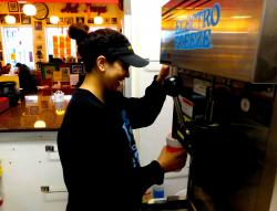 Preparing one of the famous milk shakes at Photo's Hot Dogs in Palatine