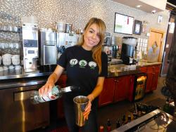 Friendly server at Xando Cafe in Hickory Hills