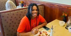 Customer enjoying breakfast at Annie's Pancake House in Skokie