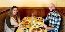 Couple enjoying a relaxing breakfast at Annie's Pancake House in Skokie