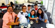 Family enjoying birthday celebration at Annie's Pancake House in Skokie