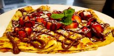 The famous Strawberry Nutella Crepes at Annie's Pancake House in Skokie