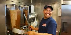Slicing the famous gyros at Billy Boy's Restaurant in Chicago Ridge