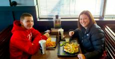 Mom and son enjoying lunch at Billy Boy's Restaurant in Chicago Ridge
