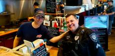 Friendly staff with police officer at Billy Boy's Restaurant in Chicago Ridge