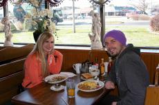 Couple enjoying breakfast at Billy's Pancake House in Palatine