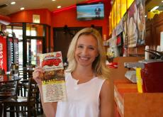 Happy customer at Brandy's Gyros in Chicago (on Harlem Ave).