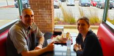 Friends enjoying lunch at Brandy's Gyros in Schaumburg