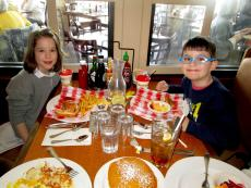 Brother and sister enjoying lunch at Butterfield's Pancake House & Restaurant in Wheaton