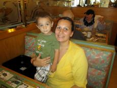 Mother and son enjoying breakfast at Christy's Restaurant & Pancake House in Wood Dale