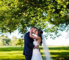 Happy newlyweds at Concorde Banquets wedding garden in Kildeer