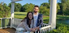 Couple enjoying friend's wedding day at Concorde Banquets in Kildeer