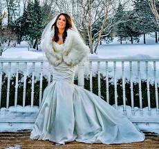 Happy bride in the wedding garden at Concorde Banquets in Kildeer