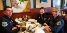 Police officers enjoying lunch at Continental Restaurant & Banquets in Buffalo Grove