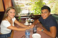 Couple enjoying dinner at Rose Garden Cafe in Elk Grove Village