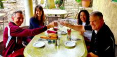 Friends enjoying the outdoor patio at Demetri's Greek Restaurant Deerfield