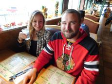 Hawks fans dining at Butterfield's Restaurant in Naperville
