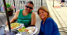Couple enjoying lunch at Dino's Cafe in Bloomingdale