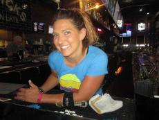 Friendly bar server at Draft Picks Sports Bar in Naperville