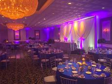 Beautifully decorated ballroom at Fountain Blue Banquets & Conference Center in Des Plaines