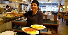 Friendly server at George's Family Restaurant in Oak Park
